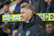 Manchester United Manager Ole Gunnar Solskjaer during the Premier League match between Norwich City and Manchester United at Carrow Road, Norwich, England on 27 October 2019.