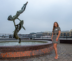 © Licensed to London News Pictures. 21/11/2019. London, UK. Miss Ireland (Chelsea FARRELL) pictured at Tower Bridge. National representatives from around the world arrive in London for the 69th Miss World festival and final Photo credit: Peter Manning/LNP