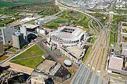 Nederland, Noord-Holland, Amsterdam, 09-04-2014; ArenA-gebied met stadion Arena en Arena Boulevard, NS station Bijlmer Arena, winkelcentrumAmsterdamse Poort.<br /> Arena area with Ajax stadium<br /> luchtfoto (toeslag op standard tarieven);<br /> aerial photo (additional fee required);<br /> copyright foto/photo Siebe Swart