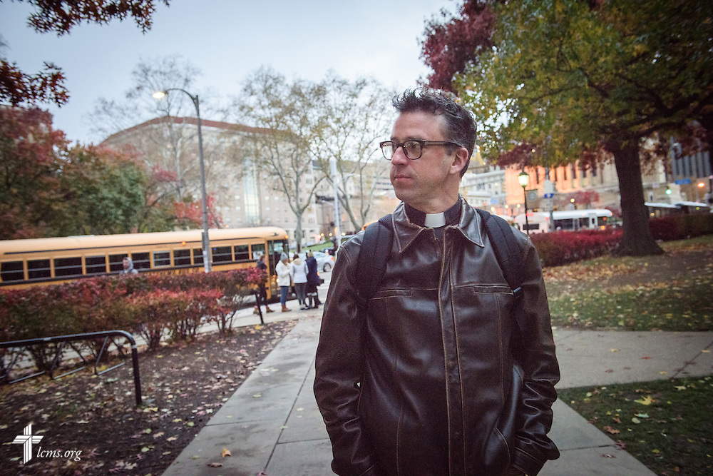 The Rev. Eric R. Andræ, associate pastor for campus and international ministry at First Trinity Evangelical–Lutheran Church and Luther House student center, walks to the Gothic Revival skyscraper known as the Cathedral of Learning on the campus of the University of Pittsburgh on Saturday, Nov. 19, 2016, in Pittsburgh. LCMS Communications/Erik M. Lunsford