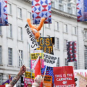 Ten of thousands march Protest Trump's visit, Trump is not welcome here, Go home Trump on July 13 2018, in London, UK