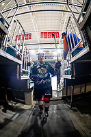 KAMLOOPS, CANADA - NOVEMBER 5:  Riley Sutter #14 of Team WHL (Everett Silvertips) exits the ice after warm up against the Team Russia on November 5, 2018 at Sandman Centre in Kamloops, British Columbia, Canada.  (Photo by Marissa Baecker/Shoot the Breeze)