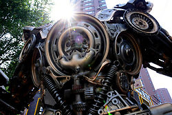 June 28, 2017 - Shenyang, Shenyang, China - Shenyang, CHINA-June 28 2017: (EDITORIAL USE ONLY. CHINA OUT) ..A transformer sculpture made of abandoned auto parts can be seen on street in Shenyang, northeast China's Liaoning Province, June 28th, 2017. (Credit Image: © SIPA Asia via ZUMA Wire)