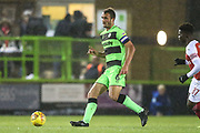 Forest Green Rovers Farrend Rawson(6) passes forward during the EFL Trophy group stage match between Forest Green Rovers and U21 Arsenal at the New Lawn, Forest Green, United Kingdom on 7 November 2018.