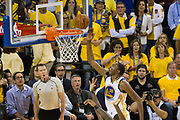Golden State Warriors forward Kevin Durant (35) lays the ball up against the Cleveland Cavaliers during Game 5 of the NBA Finals at Oracle Arena in Oakland, Calif., on June 12, 2017. (Stan Olszewski/Special to S.F. Examiner)