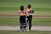 Maia Bouchier and Stafanie Taylor of Southern Vipers during the Women's Cricket Super League match between Southern Vipers and Lancashire Thunder at the 1st Central County Ground, Hove, United Kingdom on 15 August 2019.