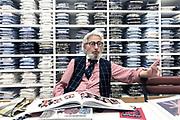 Nice, France. 28 Aout 2018.<br /> Albert Goldberg, fondateur des marques de vêtements Façonnable et Albert Arts, relance Old England à Nice.