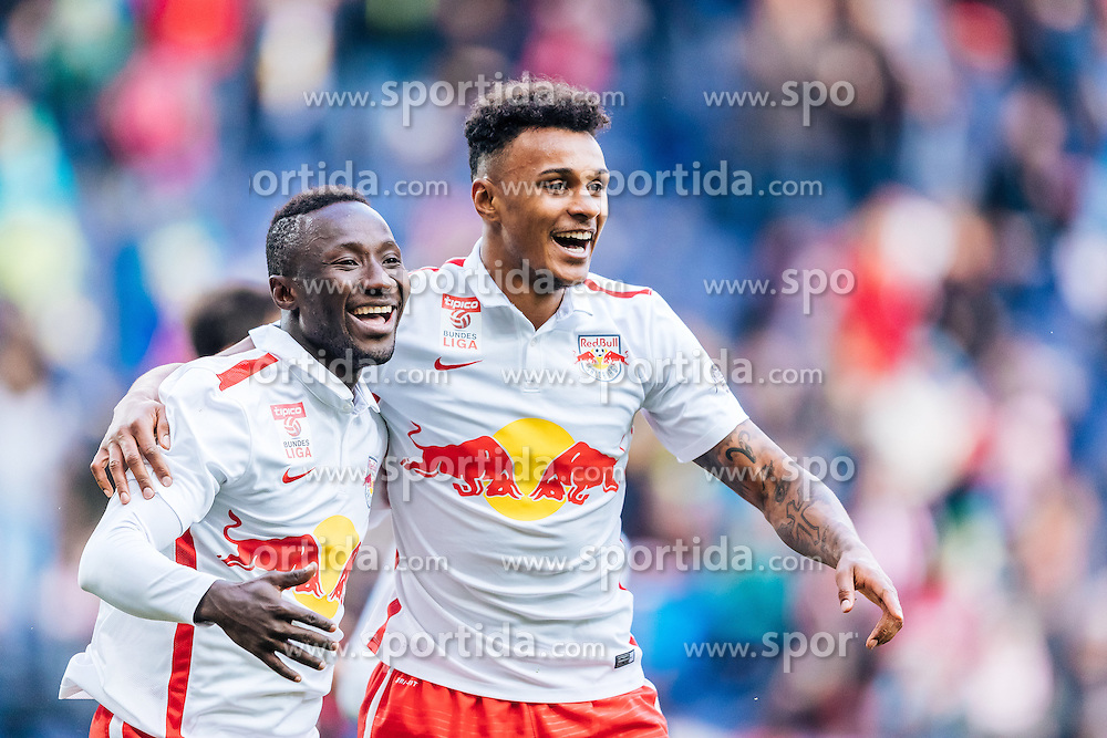 15.05.2016, Red Bull Arena, Salzburg, AUT, 1. FBL, FC Red Bull Salzburg vs RZ Pellets WAC, 36. Runde, im Bild Torjubel Salzburg Naby Keita (Red Bull Salzburg), Valentino Lazaro (Red Bull Salzburg) // Goalcelebration Salzburg Naby Keita (Red Bull Salzburg), Valentino Lazaro (Red Bull Salzburg) during Austrian Football Bundesliga 36th round Match between FC Red Bull Salzburg and RZ Pellets WAC at the Red Bull Arena, Salzburg, Austria on 2016/05/15. EXPA Pictures © 2016, PhotoCredit: EXPA/ JFK