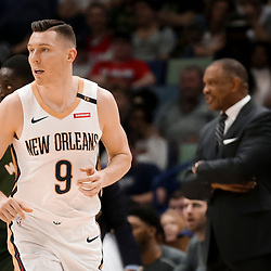 Mar 12, 2019; New Orleans, LA, USA; New Orleans Pelicans guard Dairis Bertans (9) runs the court during the second half against the Milwaukee Bucks at the Smoothie King Center. Mandatory Credit: Derick E. Hingle-USA TODAY Sports