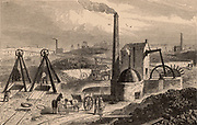 Steam engine or Whimsey for raising coal from the bottom of the pit. South Staffordshire Coalfield, England.  From 'The Cyclopaedia of Useful Arts' by Charles Tomlinson (London, 1866). Engraving.