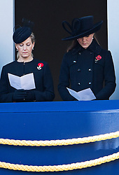 © London News Pictures. 11/11/2012. London, UK. Sophie, Countess of Wessex (left) and Catherine Duchess of Cornwall (right) singing a hymn  during the Remembrance Day Ceremony at the Cenotaph on November 13, 2011 in London, United Kingdom. Politicians and Royalty joined the rest of the county in honouring the war dead by gathering at the iconic memorial to lay wreaths and observe two minutes silence. Photo Credit: Ben Cawthra/LNP