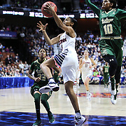 Moriah Jefferson, UConn, drives to the basket as Courtney Williams, USF, moves in to reject the ball during the UConn Huskies Vs USF  2016 American Athletic Conference Championships Final. Mohegan Sun Arena, Uncasville, Connecticut, USA. 7th March 2016. Photo Tim Clayton