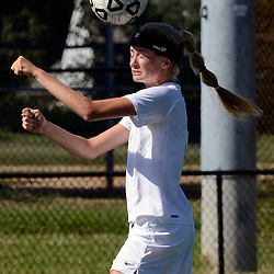 Staff photos by Tom Kelly IV<br /> Strath Haven's Annika Kruse (3) controls the ball with her head during the Agnes Irwin School vs Strath Haven girls soccer scrimmage in Nether Providence Township, Thursday August 28, 2014.