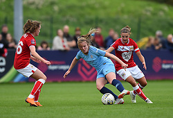 Lauren Hemp of Manchester City Women under pressure from Loren Dykes and Heather Payne of Bristol City Women - Mandatory by-line: Paul Knight/JMP - 16/09/2018 - FOOTBALL - Stoke Gifford Stadium - Bristol, England - Bristol City Women v Manchester City Women - Continental Tyres Cup