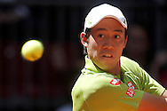 Kei Nishikori during the Madrid Open at Manzanares Park Tennis Centre, Madrid<br /> Picture by EXPA Pictures/Focus Images Ltd 07814482222<br /> 04/05/2016