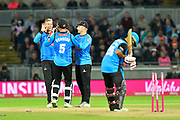 Wicket - Danny Briggs of Sussex celebrates the stumping of Brett D'Oliveira of Worcestershire with Michael Burgess of Sussex during the final of the Vitality T20 Finals Day 2018 match between Worcestershire Rapids and Sussex Sharks at Edgbaston, Birmingham, United Kingdom on 15 September 2018.