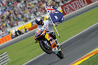 MILLER Jack (AUS) of KTM wheeling celebrates winning the race with a flag during the Moto 3 Valencia Grand Prix at Ricardo Tormo circuit, Cheste in Spain on november 09, 2014 - Photo Milagro / DPPI