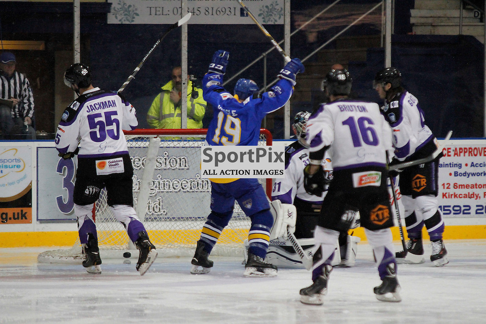 Fife Flyers V Braehead Clan, Elite Ice Hockey League, 28 November 2015Fife Flyers V Braehead Clan, Elite Ice Hockey League, 28 November 2015Fife Flyers V Braehead Clan, Elite Ice Hockey League, 28 November 2015<br /> <br /> FIFE FLYERS #19 RYAN DINGLE CELEBRATES FIFE GOAL
