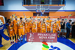 National champions team KK Helios during  medal ceremony after  basketball match between KK Zlatorog and KK Helios Suns in 4th match of Nova KBM Slovenian Champions League Final 2015/16 on June 5, 2016 in Dvorana Komunalnega centra, Domzale, Slovenia Photo by Grega Valancic / Sportida