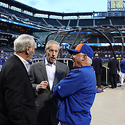 Fred Wilpon, (center), majority owner of the New York Mets, talking with Manager Terry Collins at batting practice before the New York Mets Vs Los Angeles Dodgers, game four of the NL Division Series at Citi Field, Queens, New York. USA. 13th October 2015. Photo Tim Clayton