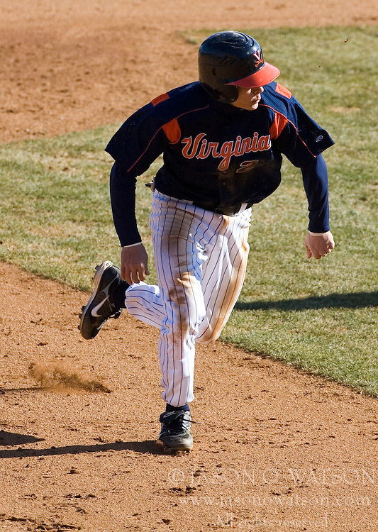 Virginia Cavaliers infielder Greg Miclat (2) advances to third base against Delaware.  Miclat had his 11th stolen base of the season against the Blue Hens.  The Virginia Cavaliers Baseball Team defeated the Delaware Blue Hens 3-2 to complete the sweep of a three game series at Davenport Field in Charlottesville, VA on March 4, 2007.