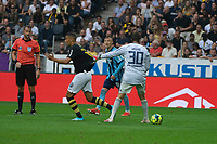 2019-09-01 | Solna, Sweden: AIKs (11) Nabil Bahoui and Djurgårdens IF (30) Tommi Vaiho during the game between AIK and Djurgårdens IF at Friends Arena ( Photo by: Simon Holmgren | Swe Press Photo )<br /> <br /> Keywords: Friends Arena, Solna, Soccer, Allsvenskan, AIK, Djurgårdens IF