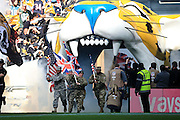 US army enter the stadium during the International Series match between Indianapolis Colts and Jacksonville Jaguars at Wembley Stadium, London, England on 2 October 2016. Photo by Jason Brown.