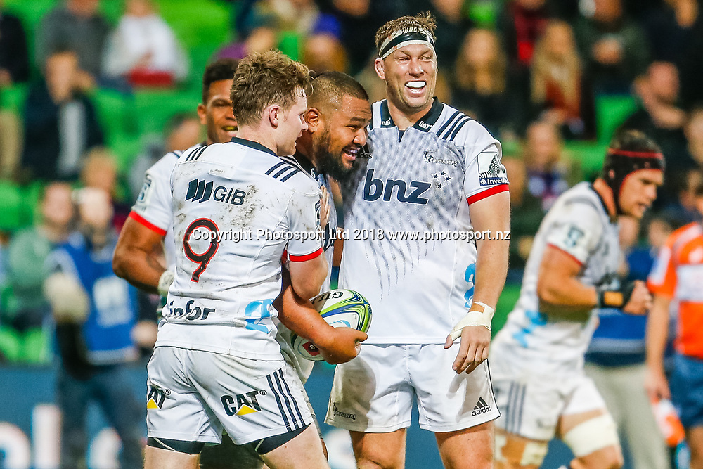 Andrew Makalio celebrates after scoring a try during Rebels v Crusaders, 2018 Super Rugby season, AAMI Park, Melbourne, Australia. 4 May 2018. Copyright Image: Brendon Ratnayake / www.photosport.nz