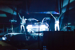 © Licensed to London News Pictures. 24/04/2014. London, UK.   McBusted performing live at The O2 Arena.   In this picture - Matt Willis (left) and James Bourne (right) who enter the stage at the beginning of the concert by flying down in Delorean car in a spoof of Back To The Future.. *** LICENSE CONDITIONS USAGE ALLOWED ONLY UNTIL 14 MAY 2014, NO USAGE BEYOND THAT DATE***.   McBusted are an English pop-rock group composed of members of the bands Busted & McFly - James Bourne, Tony Fletcher, Danny Jones, Harry Judd, Dougie Poynter, and Matt Willis.  The only member of the original groups not participating in the new lineup is former Busted singer CharlieSimpson. Photo credit : Richard Isaac/LNP