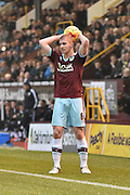 Burnley Defender, Ben Mee  ready for a throw in during the Sky Bet Championship match between Burnley and Charlton Athletic at Turf Moor, Burnley, England on 19 December 2015. Photo by Mark Pollitt.