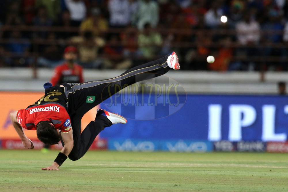 Adam Milne of the Royal Challengers Bangalore throws the ball during match 20 of the Vivo 2017 Indian Premier League between the Gujarat Lions and the Royal Challengers Bangalore  held at the Saurashtra Cricket Association Stadium in Rajkot, India on the 18th April 2017<br /> <br /> Photo by Vipin Pawar - Sportzpics - IPL