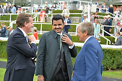 Let to right, RICHARD HANNON, SHEIKH JOAAN BIN HAMAD BIN KHALIFA AL-THANI of Qatar and CHARLIE GORDON-WATSON at day 3 of the Qatar Glorious Goodwood Festival at Goodwood Racecourse, Chechester, West Sussex on 28th July 2016.