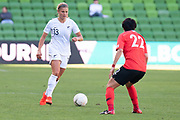 MELBOURNE, VIC - MARCH 06: Rosie White (13) of New Zealand looks on to pass during The Cup of Nations womens soccer match between New Zealand and Korea Republic on March 06, 2019 at AAMI Park, VIC. (Photo by Speed Media/Icon Sportswire)