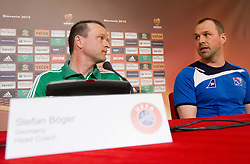 Stefan Boeger, head coach of Germany U-17 National team and Gunnar Gudmundsson, head coach of Iceland U-17 National team during press conference of Group A of UEFA European Under-17 Championship Slovenia 2012, on May 3, 2012 in Austria Trend Hotel, Ljubljana, Slovenia. (Photo by Vid Ponikvar / Sportida.com)