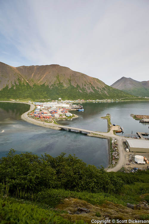 View of the fish cannery and city of King Cove, Alaska from a nearby mountain.