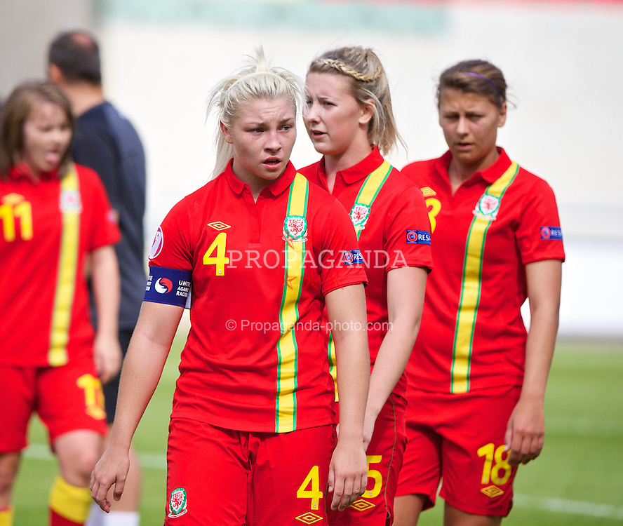 LLANELLI, WALES - Monday, August 19, 2013: Wales' captain Lauren Price looks dejected as her side lose 1-0 to Denmark during the opening Group A match of the UEFA Women's Under-19 Championship Wales 2013 tournament at Parc y Scarlets. (Pic by David Rawcliffe/Propaganda)
