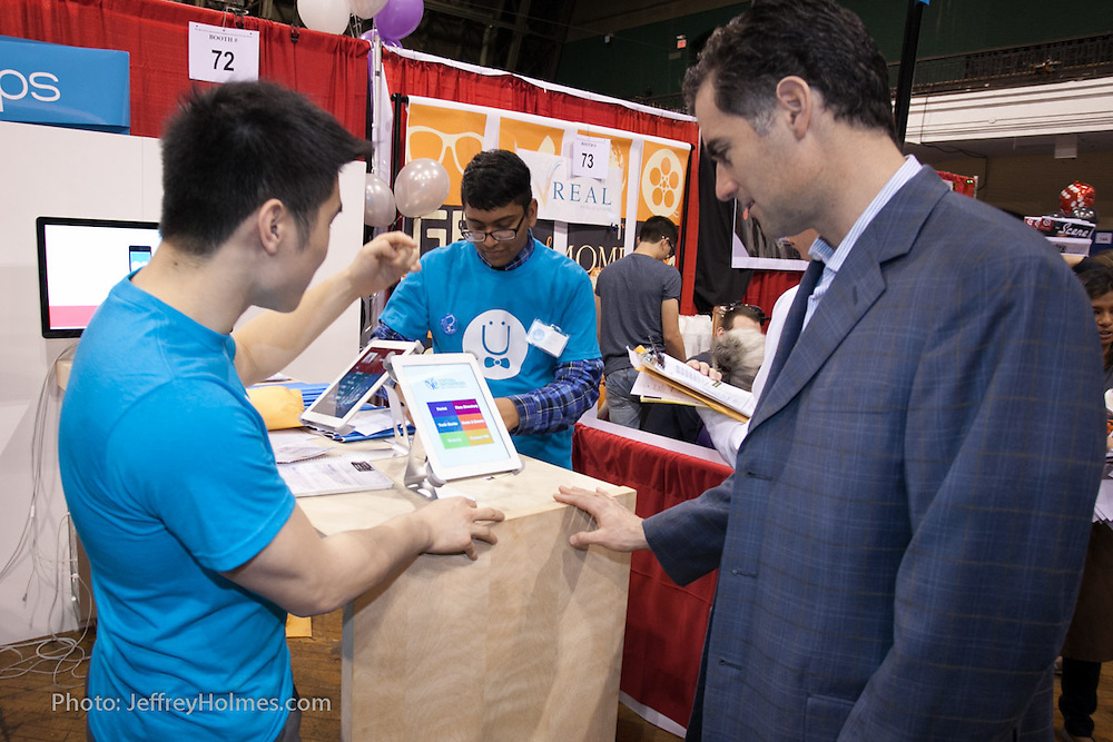 Virtual Enterprises International holds it International Trade Show in New York on April 3, 2014. Students sell and buy the products and services offered through their VEI businesses. (Photo: JeffreyHolmes.com)