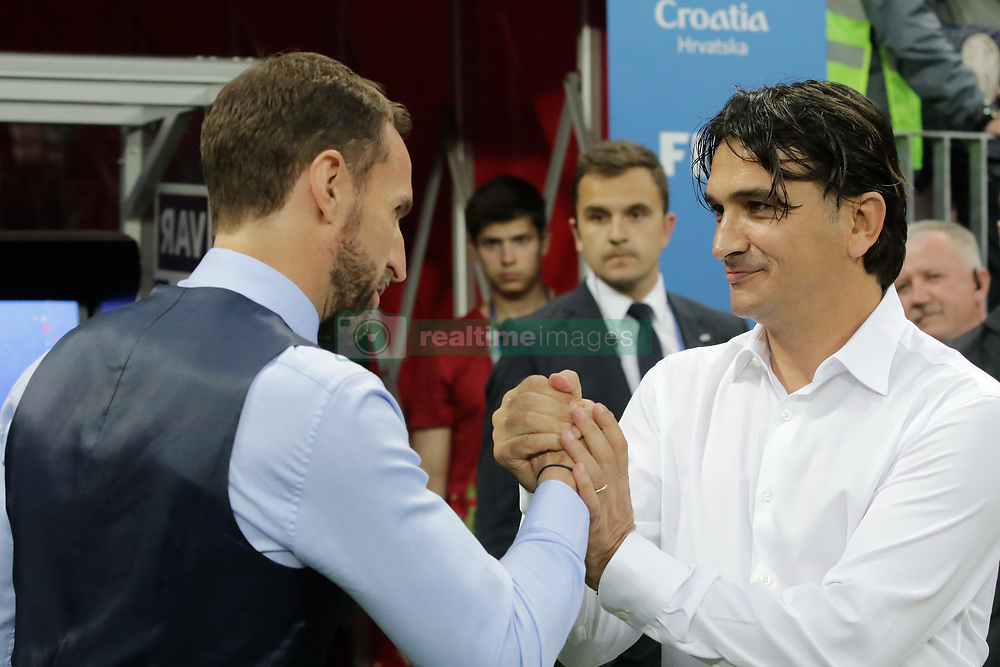 July 11, 2018 - Moscow, Vazio, Russia - England coach Gareth Southgate and Croatia coach Zlatko Dalic during a match between England and Croatia for the semi-final of the 2018 World Cup, held at Lujniki Stadium in Moscow..Croatia wins 2-1. (Credit Image: © Thiago Bernardes/Pacific Press via ZUMA Wire)