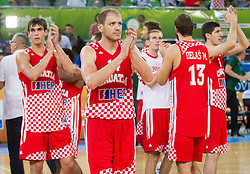 Luka Zoric #14 of Croatia and other players of Croatia after the basketball match between National teams of Lithuania and Croatia in Semifinals at Day 17 of Eurobasket 2013 on September 20, 2013 in Arena Stozice, Ljubljana, Slovenia. (Photo by Vid Ponikvar / Sportida.com)