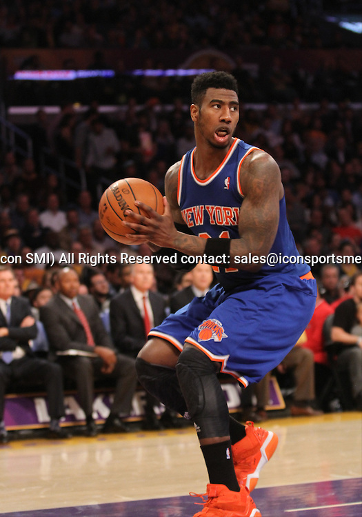 Tuesday March 25, 2014; Iman Shumpert #21 of the Knicks during the game. The Los Angeles Lakers defeated the New York Knicks by the final score of 127-96 at Staples Center in downtow Los Angeles CA.