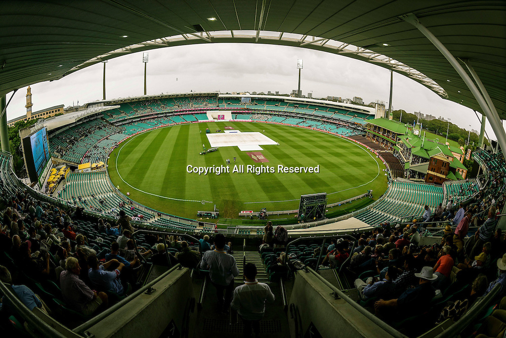 04.01.2016. Sydney, Australia. Day 2 of the 3rd Test match between Australia and the West Indies was delayed by rain a number of times as the pitch covers came out at the Sydney Cricket Ground in Sydney.