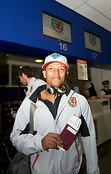 CARDIFF, WALES - Wednesday, September 1, 2010: Wales' Robert Earnshaw checks-in for his flight at Cardiff Airport before the squad heads out to Podgorica ahead of the opening UEFA Euro 2012 Qualifying Group 4 match against Montenegro. (Pic by David Rawcliffe/Propaganda)