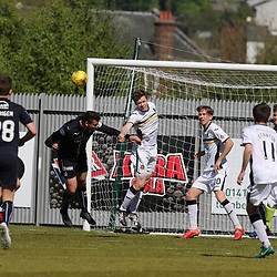 Darren Barr heads clear  during the Dumbarton v Falkirk Scottish Championship 06 May 2017<br /> <br /> <br /> <br /> <br /> <br /> (c) Andy Scott | SportPix.org.uk