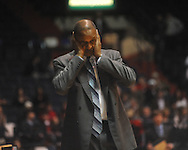 "Louisiana State coach Trent Johnson reacts to a call at the C.M. ""Tad"" Smith Coliseum in Oxford, Miss. on Wednesday, February 9, 2011. Ole Miss won 66-60 and is now 4-5 in the Southeastern Conference."