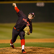 16 February 2018: San Diego State baseball opened up the season against UCSB at Tony Gwynn Stadium. San Diego State pitcher Logan Boyer (15) seen here pitching in the bottom of the first inning against UCSB. The Aztecs beat the Gauchos 9-1. <br /> More game action at sdsuaztecphotos.com