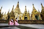 Buddhist nuns in front of Shwedagon Pagoda, Yangon, Myanmar