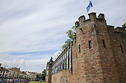 Cardiff Castle with banners and flags. Fans line the street before the Champions League Final between Juventus and Real Madrid at the National Stadium of Wales, Cardiff, Wales on 3 June 2017. Photo by Phil Duncan.