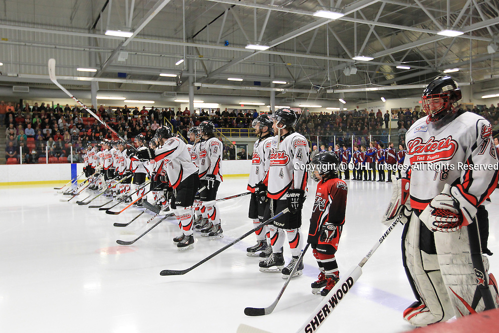 FORT FRANCES, ON - Apr 28, 2015 : Central Canadian Junior &quot;A&quot; Championship, game action between theToronto Patriots and the Fort Francis Lakers, game two of the Dudley Hewitt Cup. Fort Frances Lakers during the opening ceremonies.<br /> (Photo by Tim Bates / OJHL Images)
