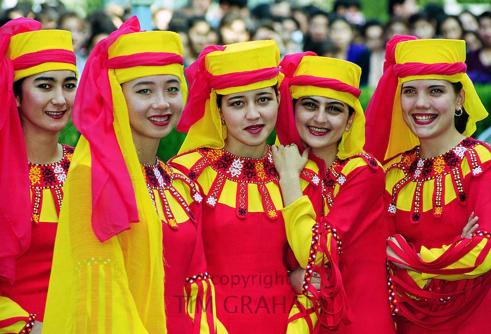 Girl wearing national costume in Turkmenistan