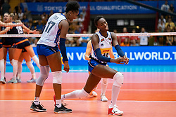 04-08-2019 ITA: FIVB Tokyo Volleyball Qualification 2019 / Netherlands, - Italy Catania<br /> last match pool F in hall Pala Catania between Netherlands - Italy for the Olympic ticket. Italy win 3-0 and take the ticket to the Olympics / Miryam Fatime Sylla #17 of Italy, Paola Ogechi Egonu #18 of Italy